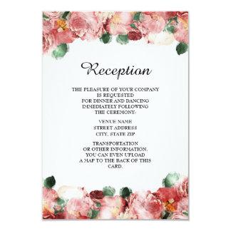 ロマンチックなピンクの花の結婚披露宴の招待状 8.9 X 12.7 インビテーションカード