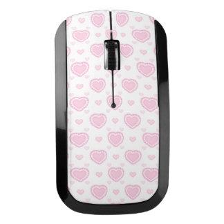 ロマンチックなピンク及び白いハート ワイヤレスマウス
