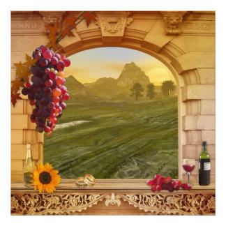 ロマンチックなブドウ園(結婚式)のヴィンテージの絵を描くこと フォトプリント
