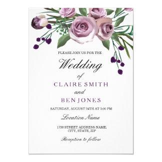 ロマンチックなプラム紫色のバラの花の結婚式の招待 カード