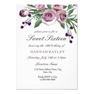 ロマンチックなプラム紫色のバラの菓子16の招待状 12.7 X 17.8 インビテーションカード