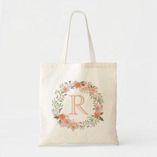 ロマンチックなモモの花柄のモノグラム トートバッグ