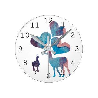 ロマンチックなラマの芸術 ラウンド壁時計