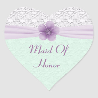 ロマンチックなレース及び花、ラベンダー及びミントの緑 ハートシール