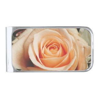 ロマンチックなローズピンクのバラの春の花の花柄 銀色 マネークリップ