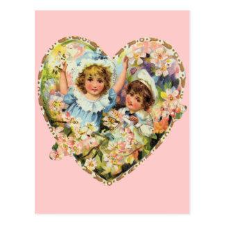 ロマンチックなヴィンテージのバレンタイン ポストカード