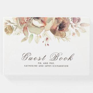 ロマンチックなヴィンテージの水彩画によっては秋の結婚式が開花します ゲストブック