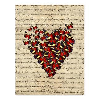 ロマンチックなヴィンテージの蝶ハート ポストカード