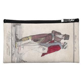 ロマンチックなヴィンテージアイススケート場面エレガントなカップル コスメティックバッグ