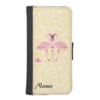 ロマンチックな上品の空想のフラミンゴのダマスク織のモノグラム iPhoneSE/5/5sウォレットケース