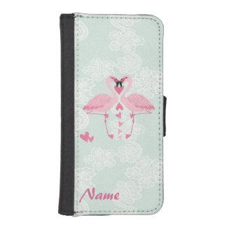 ロマンチックな上品の空想のフラミンゴの花のレースのモノグラム iPhoneSE/5/5sウォレットケース