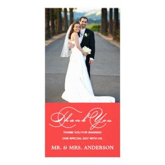 ロマンチックな原稿の珊瑚の結婚式は写真カード感謝していしています カード
