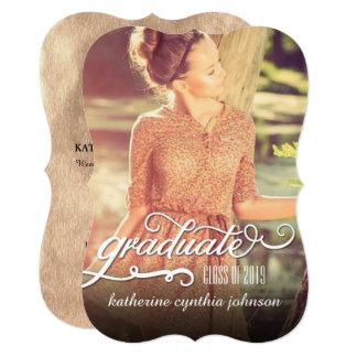 ロマンチックな原稿ホイルの卒業の写真の発表 12.7 X 17.8 インビテーションカード
