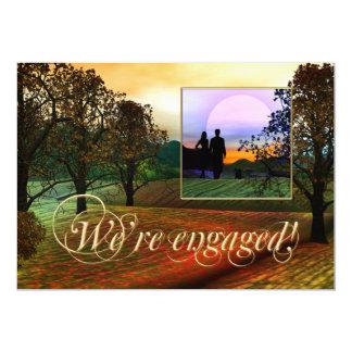 ロマンチックな国の写真の婚約の招待状 カード