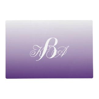 ロマンチックな夏の薄紫のグラデーションな紫色のモノグラム ラミネート ランチョンマット