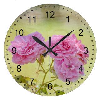 ロマンチックな庭のバラ ラージ壁時計