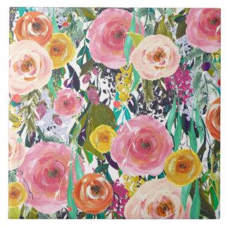 ロマンチックな庭の水彩画の花 タイル