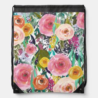 ロマンチックな庭の水彩画の花 ナップサック