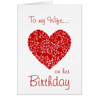 ロマンチックな彼女の誕生日赤いハートの私の妻に カード