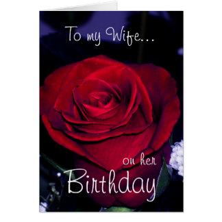 ロマンチックな彼女の誕生日赤いバラの私の妻に カード