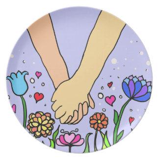 ロマンチックな把握手-デートすること/記念日のギフト プレート