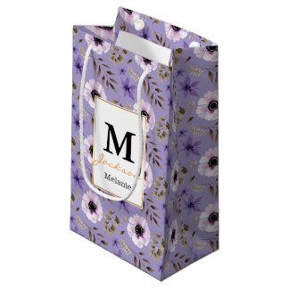 ロマンチックな描かれた紫色の花の植物のパターン スモールペーパーバッグ
