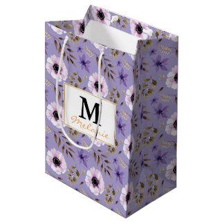 ロマンチックな描かれた紫色の花の植物のパターン ミディアムペーパーバッグ