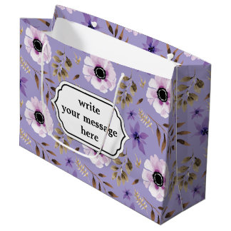 ロマンチックな描かれた紫色の花の植物のパターン ラージペーパーバッグ