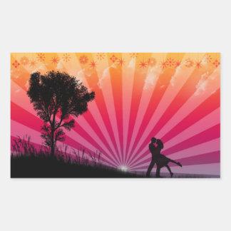 ロマンチックな日没のステッカー 長方形シール
