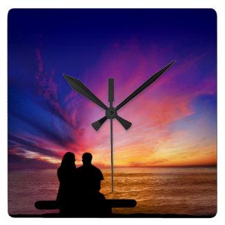ロマンチックな日没の柱時計 スクエア壁時計