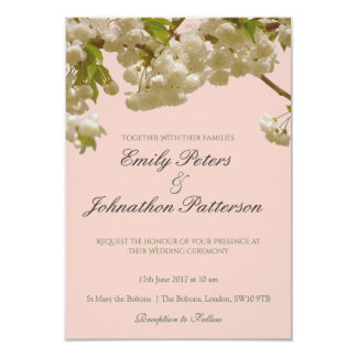 ロマンチックな春の夏の桜の結婚式 8.9 X 12.7 インビテーションカード