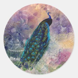 ロマンチックな望楼の孔雀および水彩画 ラウンドシール