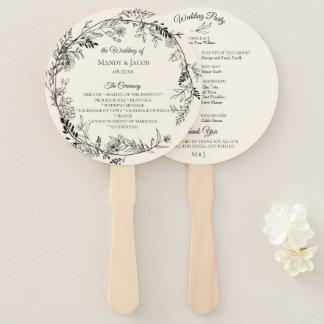 ロマンチックな植物の花のリースの結婚式プログラム ハンドファン