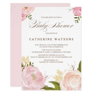 ロマンチックな水彩画によってはベビーシャワーの招待状が開花します 12.7 X 17.8 インビテーションカード