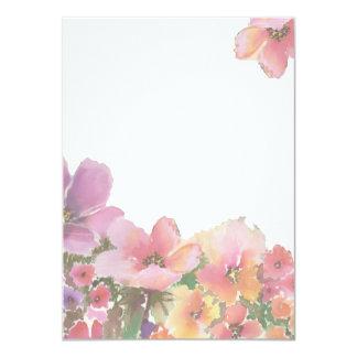 ロマンチックな水彩画の結婚式の花 11.4 X 15.9 インビテーションカード