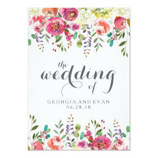 ロマンチックな水彩画の花柄の結婚式招待状 カード
