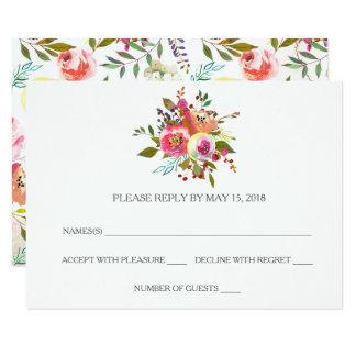 ロマンチックな水彩画花RSVPのカード カード