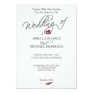 ロマンチックな深紅の赤い花の結婚式招待状 カード