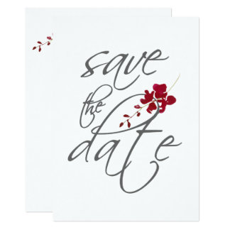 ロマンチックな深紅の赤い葉の保存日付の結婚式 カード