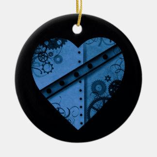 ロマンチックな濃紺のsteampunkのハート セラミックオーナメント