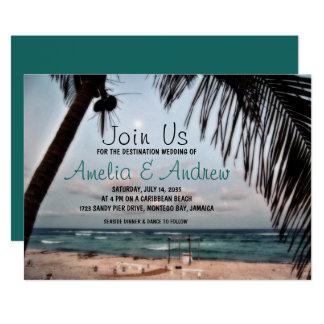 ロマンチックな熱帯ビーチの写真の行先の結婚式 12.7 X 17.8 インビテーションカード