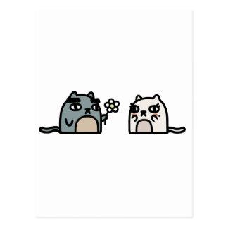 ロマンチックな猫 ポストカード