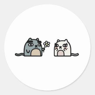 ロマンチックな猫 ラウンドシール