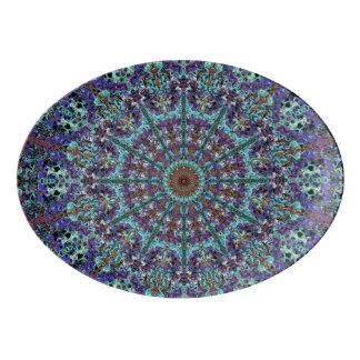 ロマンチックな着色された曼荼羅のオーナメントのアラベスク 磁器大皿