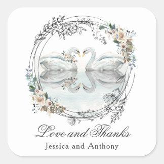 ロマンチックな結婚式の白鳥は感謝していしています スクエアシール