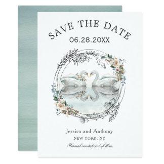 ロマンチックな結婚式の白鳥は日付を救います カード