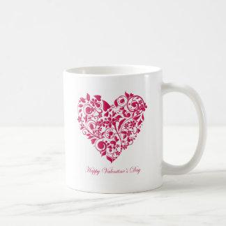 ロマンチックな花いっぱいの赤いValentine´s日のハート コーヒーマグカップ