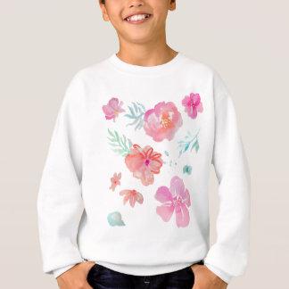 ロマンチックな花のピンクの水彩画のカッコいい及びエレガント スウェットシャツ