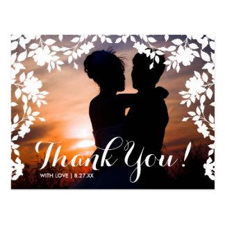 ロマンチックな花のボーダー|は感謝していしています ポストカード