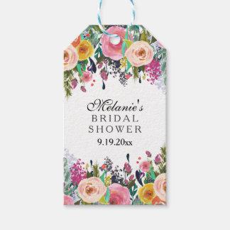 ロマンチックな花の庭のブライダルシャワー ギフトタグ